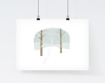 Winter Bell Jar - Woodland Print, Illustration Art Print, Xmas Gift for Her, Winter Art Print, Nursery Art, Nursery Wall Art, Woodland Art