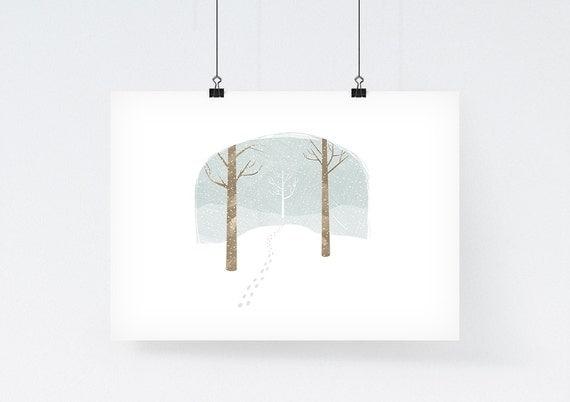 Winter Bell Jar - Art Illustration Print - winter drawing, nursery art