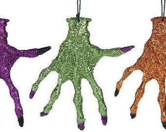 8.75 Inch One Glittery Skeleton Hand With Hanger HH724899, Halloween Decor, Halloween Decorations