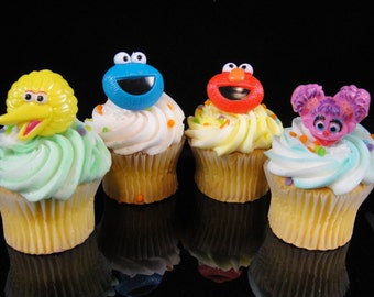 Sesame Street Cupcake Rings, Sesame Party, Sesame Street Party Favor, Party Favor, Cupcake Rings, Baby Shower - Qty 12