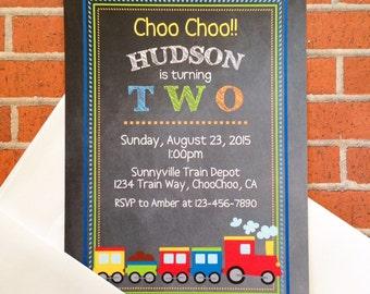 12 train birthday invitations with envelopes, 2nd birthday train birthday invites, second birthday party, printed chalkboard invitation