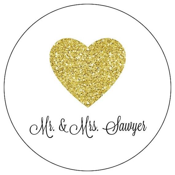 gold wedding stickers custom gold heart wedding stickers