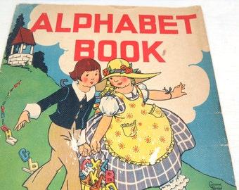 Antique Alphabet Book for Children - Linen RARE 1934 Corinne Bailey - Pre-School Kindergarten Book