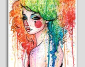 Masked 18x24 inch poster sized art print Colorful Rainbow Pop Art Clown Girl Home Decor
