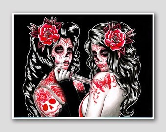 Day of the Dead Sugar Skull Girls Tattoo Poster 18x24 inch Signed Art Print - The Betrayal by Carissa Rose - Lowbrow Home Decor