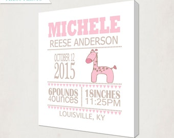 Girl's Giraffe Birth Announcement Art Canvas // Personalized Canvas Print // Kids Nursery Wall Art // Birth Information Canvas in Pink & Tan