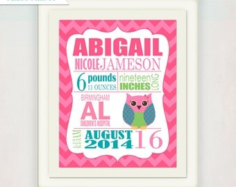 Owl Birth Announcement Wall Art // Custom Owl Print with Baby's name // Kid's Nursery Art Print // Pink & Teal Personalized Baby Gift