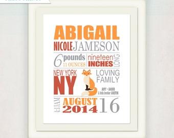 Fox Birth Announcement Wall Art // Fox Print Announcment // Custom color or orange & grey // Girl's Nursery Announcment Print // Baby Gift