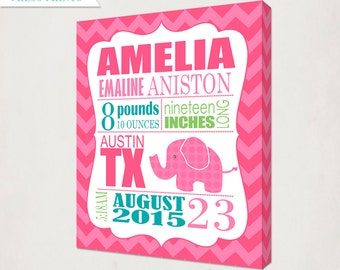 Birth Announcement Wall Art Canvas // Elephant Print on Canvas // Elephant in pink & teal // Girl's Nursery Announcment Canvas // Baby Gift