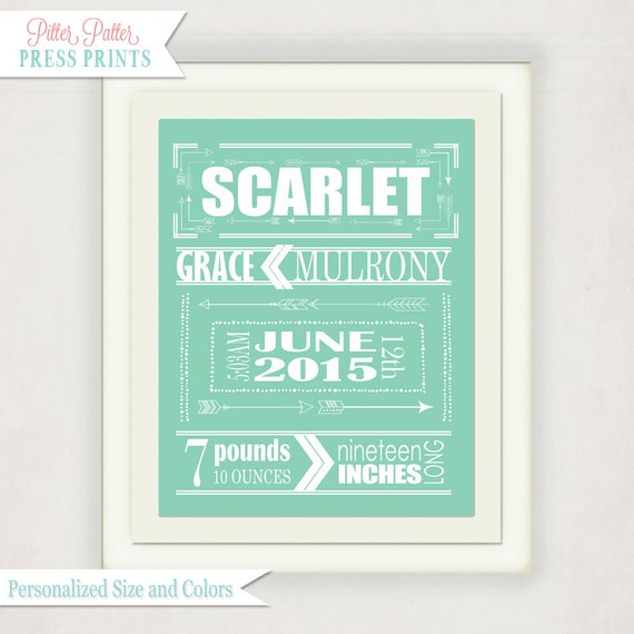 Mint Green Arrow Birth Announcement Poster Baby Wall Art – Birth Announcement Poster