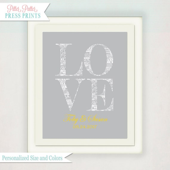 Typography Housewarming // Wedding Sign // Personalized Wedding/ Anniversary Family Name Art Print // Love Wedding Print // grey yellow