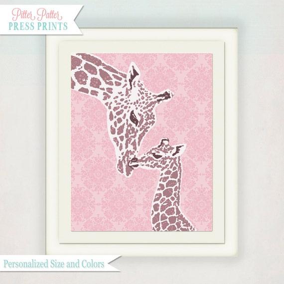 Giraffe Nursery art print for baby's nursery //girls pink nursery wall art // Kid's Illustration // pick custom colors // Girl's Nursery Art