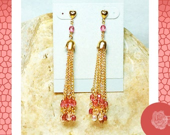 Post Earrings Pink and Clear Round Czech Crystals Gold Dangle Chains Gold Tulip Bead Caps Gold-Plated Hearts or 14K Gold-Filled Ball Posts