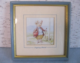Beatrix Potter Pigling Bland Print / Nursery Art / Vintage Frederick Warne & Co Framed Print