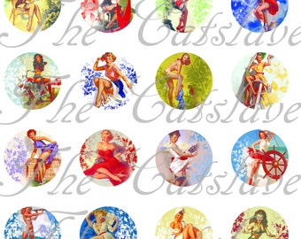 "1"" Pin Up Girls, Pin Ups Magnets, Pins, Hollowbacks or Flat Back Buttons, 12 Ct. Retro Style"