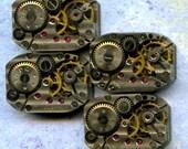 """1/2"""" x 3/4"""", 4 IDENTICAL little watch movements, stars, best price, jewelry art, steampunk, vintage, watch parts, JunqueTreasures, WM13"""