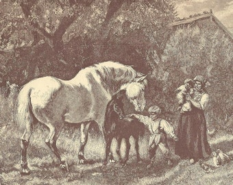 Mare With Foal Farm Family Original Black and White Litho Bookplate from 1886 Worthington's Natural History – Charming Country Life Scene