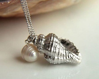 ON SALE 50% off Sea Shell Sea Snail Necklace Silver plated brass with culture pearl
