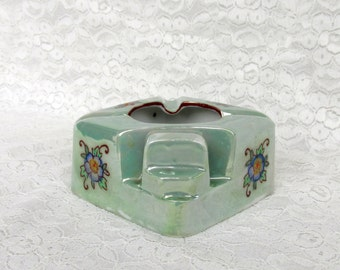 Vintage Made in Japan Porcelain Ashtray Luster Mint Iridescent with Mixed Floral