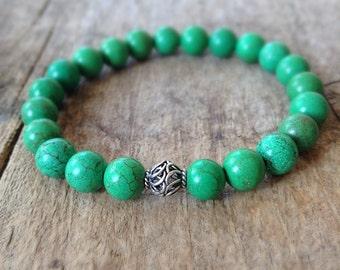 Men's Green Bracelet, Greenery, Green Stone Bracelet, Bali Sterling Silver Accent, Bali Bracelet, Bohemian Bracelet, Bohemian Jewelry