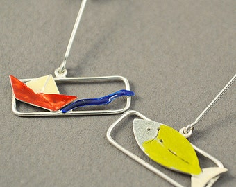 Silver earrings, Boat with Fish earrings, liquid glass earrings, red enamel earrings, yellow enamel earrings, summer earrings