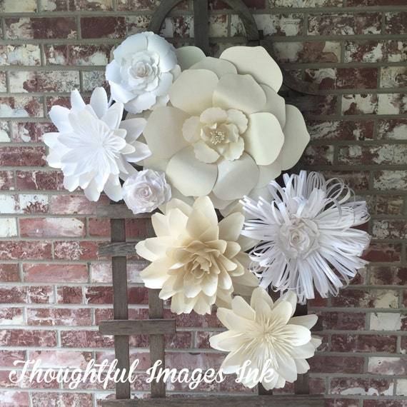Large paper flower wall decor backdrop by thoughtfulimagesink for Flower decoration made of paper