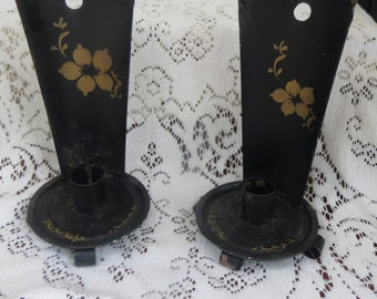 Small Black and Gold Metal Candle Holders Vintage Decor