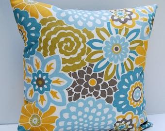 Floral Pillow Cover, Blue, Yellow, Cocoa Brown Throw Pillow, Contemporary Cushion, 18x18 Pillow