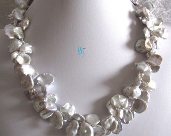 Pearl Necklace -20 inches 11-17mm Natural Gray Keshi 2Row Freshwater Pearl Necklace - Free Shipping