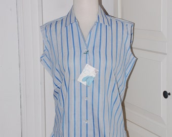 "50s Blouse, Deadstock, Blue White Stripe, Sleeveless, Summer, NWT, ""A Gabey Original,"" Size Large"
