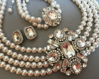 Complete Jewelry Set Necklace Bracelet Earrings and Hair Comb Rhinestone Brooch multi strand Swarovski pearls