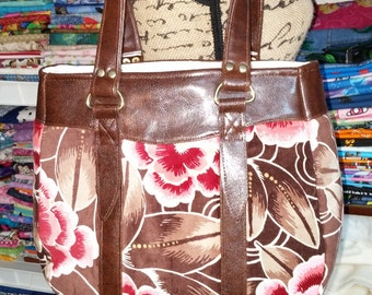 Ready to Ship Swoon Evelyn Handbag Tote Brown and Pink Rose or Custom Colors
