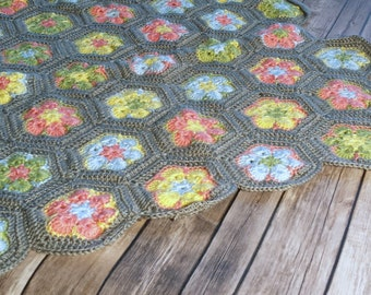 Newborn Crochet Baby Blanket Floral Flower Multicolor Gray