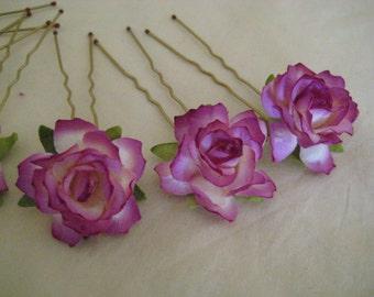 Violet Purple Rose Hairpins x 8. HANDMADE.