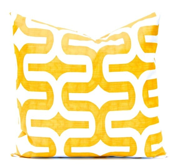 Yellow Pillow Cover, Yellow Cushion Cover, Decorative Throw Pillows, Throw Pillow Cushion Covers - Yellow and White Geometric Design
