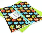 READY to SHIP! Washcloth or Cloth Wipes with Soft Terrycloth -Set of 2 in ORGANIC Timeless Treasures Birds on Brown and Green Dots