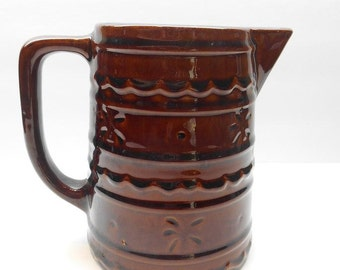 Vintage Brown Stoneware Pottery Pitcher