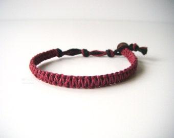 Burgundy Hemp Bracelet, Aromatherapy, Indie Hemp Works, Hemp Bracelets, Hemp Anklets, Ruby Red, Maroon, Hippie, Boho, Hemp Jewelry, Handmade