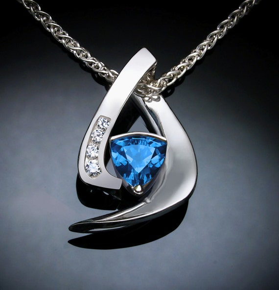 blue topaz necklace, blue topaz pendant, statement jewelry, white sapphire pendant, December birthstone, designer jewelry, gemstone -3369