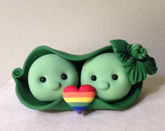 Two Peas in a Pod Wedding Cake Topper handmade