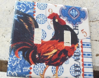 Rooster Americana  Double Light Switch Plate Cover