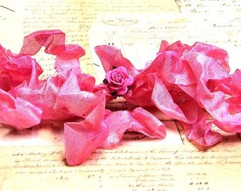 PINK PEONY Crinkled Cottage Ribbon