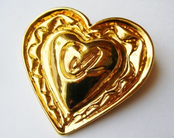 Vintage Christian Lacroix French Gold Heart Designer Logo Brooch Pin Paris France