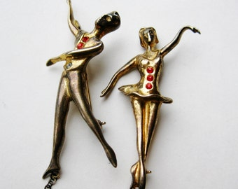 Vintage 40s Gold Vermeil Sterling Silver Dancers Chatelaine Pin Brooch