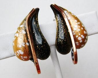 Vintage 50s Renoir Matisse Copper Enamel Autumn Leaves Clip Earrings