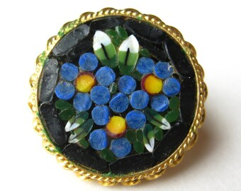 Vintage 50s Italian Murano Venetian Round Micro Mosaic Art Glass Brooch Pin