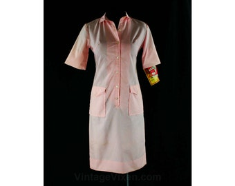 Size 4 Pink Cotton 60s Dress - Small 1960s Shirtdress - Cuffable Short Sleeves - Spring - Summer - Pacemaker Juniors - Deadstock - 43929
