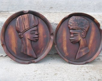 carved wooden african plaques tribal art mid century decor