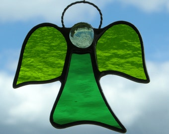 Abstract Stained Glass ornament (Angel) moss green textured glass, green rippling water glass