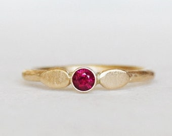 Ruby Petal Ring -  Gold Ruby Ring - Eco-Friendly Recycled Gold - Choose 14k gold or 18k gold